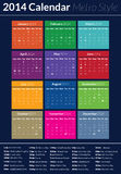 2014 Calendar - Metro Style. This is a simple but creative and elegant vector calendar for the 2014 year. It is fully resizable and editable Royalty Free Stock Image