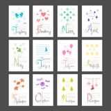 Calendar 2015 Mini Wall Lettering Monthly Sunday Start Royalty Free Stock Photos