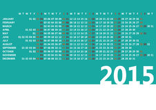 2015 calendar. Minimalist 2015 calendar on aqua background Stock Photos