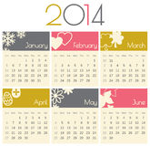 2014 Calendar. Minimalist design for a 2014 calendar (January to June stock illustration