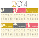 2014 Calendar. Minimalist design for a 2014 calendar (July to December Vector Illustration
