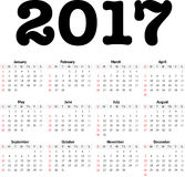 2017 calendar in minimalistic style. On white Royalty Free Stock Photography