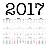 2017 calendar in minimalistic style. On white Royalty Free Stock Photo