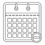Calendar with minus icon, outline style. Royalty Free Stock Image