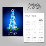 Calendar 2016 with modern Christmas tree. In blue Royalty Free Stock Photo