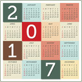 Calendar for 2017 vector illustration