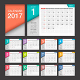 2017 Calendar. Modern design template. Week starts Sunday. Vector illustration Stock Illustration