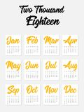 2018 calendar modern design template for a year. Starts week from Sunday,  illustration Royalty Free Stock Images