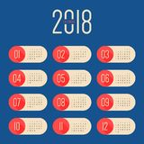 2018 calendar modern design template for a year. Starts week from Sunday,  illustration Stock Image