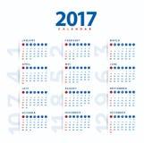 2017 Calendar.Modern and simple calendar 2017 Stock Photo