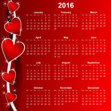 Calendar 2016 monday first. Red calendar 2016 monday first with hearts Royalty Free Stock Image
