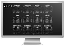 2014 calendar monitor Stock Photo