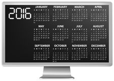 2016 calendar monitor. Illustration of 2016 calendar on screen of monitor Royalty Free Illustration