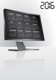 2016 calendar monitor. Illustration of 2016 calendar on screen of monitor Royalty Free Stock Photo