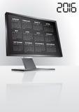 2016 calendar monitor. Illustration of 2016 calendar on screen of monitor Vector Illustration