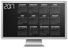 2017 calendar monitor. Illustration of 2017 calendar on screen of monitor Royalty Free Stock Photos