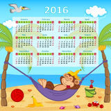 Calendar with monkey on hammock 2016. Vector illustration, eps royalty free illustration