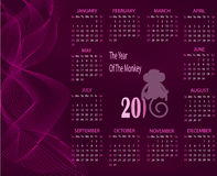 Calendar for 2016 with a monkey on a purple background. Royalty Free Stock Images