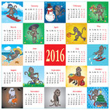 Calendar 2016 with monkeys. Calendar with a set of different cartoon monkeys for different months of 2016 Royalty Free Stock Images