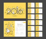 Calendar for 2016 with monkeys. Week beginning Sunday. Template desktop planner for each month Royalty Free Stock Photo