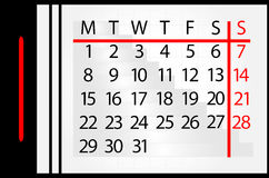 Calendar on month. On white background Royalty Free Stock Image