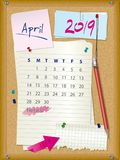 2019 calendar - month April - cork board with notes. Week starts on Sunday Stock Photo
