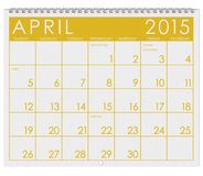 2015 Calendar: Month Of April Royalty Free Stock Photo