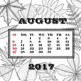 Calendar for the month August 2017 on a background of leaves. Of trees Stock Photography