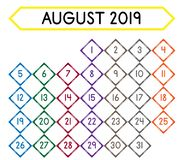 Calendar of the month of August 2019 royalty free illustration