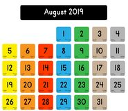 Calendar of the month of August 2019 vector illustration