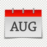 Calendar month August icon on gray and red color on transparent. Background. Layers grouped for easy editing illustration. For your design Royalty Free Illustration