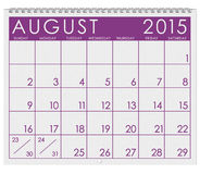 2015 Calendar: Month Of August. 12 image series of months on the year in a 3d rendered calendar Royalty Free Stock Image