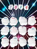 2014 calendar with month bubbles. Cool calendar design for 2014 with month bubbles and bursting hexagon background stock illustration