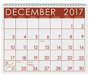 2017: Calendar: Month Of December With Christmas Holiday Stock Images