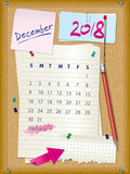 2018 calendar - month December - cork board with notes. And pushpins, torn paper and pencil Royalty Free Stock Photos