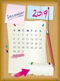 2019 calendar - month December - cork board with notes. Week starts on Sunday Royalty Free Stock Photography