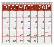 2015 Calendar: Month Of December Royalty Free Stock Photos