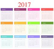 Calendar 2017. Month with different colors Stock Photos