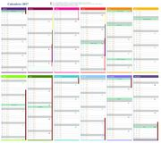 Calendar 2017. Month with different colors Royalty Free Stock Photo