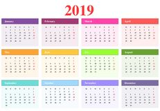 Calendar 2019. Month with different colors stock illustration