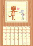 Calendar month of February 2012.  Royalty Free Stock Photography