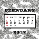 Calendar month of February 2017.background made of fir branches. Stock Illustration