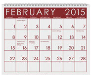 2015 Calendar: Month Of February Stock Photography
