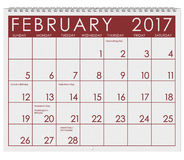 2017: Calendar: Month Of February With Valentine`s Day Royalty Free Stock Photography
