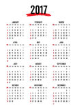 Calendar 2017,12 month in Grunge text style,week start Sunday. Vector Calendar template Royalty Free Stock Images