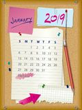 2019 calendar - month January - cork board with notes. Week starts on Sunday royalty free illustration