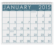 2015 Calendar: Month Of January. 12 image series of months on the year in a 3d rendered calendar Royalty Free Illustration
