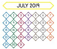 Calendar of the month of July 2019 royalty free illustration