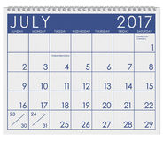 2017: Calendar: Month Of July With Holiday. 12 image series of months on the year in a 3d rendered calendar Stock Photo