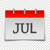 Calendar month July icon on gray and red color on transparent b. Ackground. Layers grouped for easy editing illustration. For your design Vector Illustration